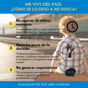 CECODAP TIPS Me voy del país, cómo le digo a mi hijo