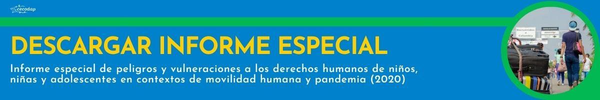 informe especial de Peligros y vulneraciones a los derechos humanos de niños, niñas y adolescentes en contextos de movilidad humana y pandemia de 2020